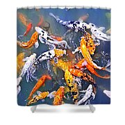 Koi Fish In Pond Shower Curtain by Elena Elisseeva