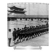 Korean Soldiers At The Old Royal Palace In Seoul - C 1904 Shower Curtain