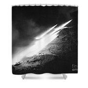 Korean War: Rocket Launch Shower Curtain