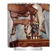 Krishna And Priests Shower Curtain