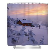 La Chouette Cabin At Twilight, Gaspesie Shower Curtain