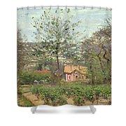 La Maison Rose Shower Curtain by Camille Pissarro