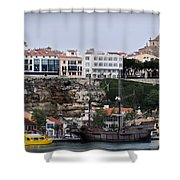 A Galleon At Bottom Of Port Mahon Menorca One Of The Largest Natural Harbours In The World Shower Curtain