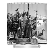La Rogativa Sculpture Old San Juan Puerto Rico Black And White Shower Curtain