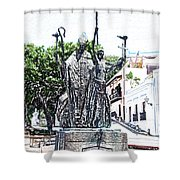 La Rogativa Sculpture Old San Juan Puerto Rico Colored Pencil Shower Curtain