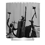 La Rogativa Statue Old San Juan Puerto Rico Black And White Shower Curtain by Shawn O'Brien