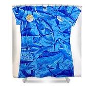Ladies Gamefish Collage Shirt Shower Curtain
