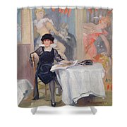 Lady At A Cafe Table  Shower Curtain