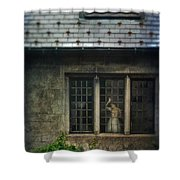Lady By Window Of Tudor Mansion Shower Curtain