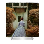 Lady In 19th Century Clothing By Conservatory Shower Curtain