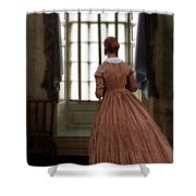 Lady In 19th Century Clothing Looking Out Window Shower Curtain