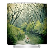 Lady In A Row Boat On A River Shower Curtain