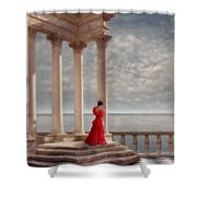Lady In Red Gown By The Sea Shower Curtain