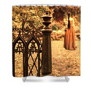 Lady In Renaissance Dress By Open Gate Shower Curtain
