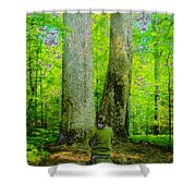 Lady In The Woods Shower Curtain