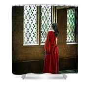 Lady In Tudor Gown Looking Out A Window Shower Curtain