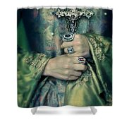 Lady In Tudor Gown With Crucifix Shower Curtain