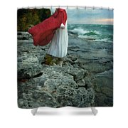 Lady In Vintage Clothing By The Sea Shower Curtain