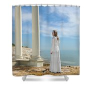 Lady In White By The Sea Shower Curtain