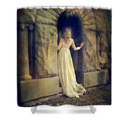 Lady In White Gown In Doorway Shower Curtain