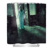 Lady In White Gown Walking Through A Mysterious Doorway Shower Curtain