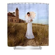Lady In White With Parasol By The Sea Shower Curtain