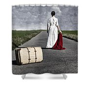 Lady On The Road Shower Curtain