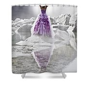 Lady On The Rocks Shower Curtain by Joana Kruse