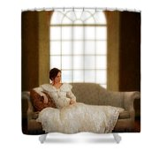 Lady Sitting On Sofa By Window Shower Curtain