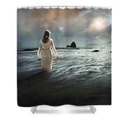 Lady Wading Into The Sea In The Early Morning Shower Curtain