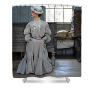 Lady Waiting In Train Depot Shower Curtain
