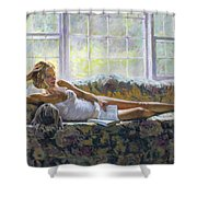 Lady With A Book Shower Curtain