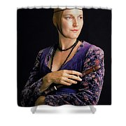 Lady With Recorder Shower Curtain