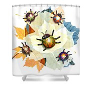 Ladybug Illustration Shower Curtain