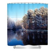 Lagan Meadows During Winter, Belfast Shower Curtain