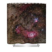 Lagoon Nebula And Trifid Nebula Shower Curtain