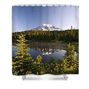 Lake And Mount Rainier, Mount Rainier Shower Curtain