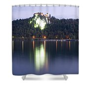 Lake Bled Castle At Dawn Shower Curtain