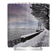 Lake Front In Winter Shower Curtain