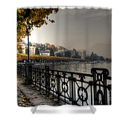 Lake Front With Autumn Trees Shower Curtain