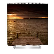 Lake Huron Dock Shower Curtain