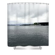 Lake Lucerne And Cruise Ships Berthed In Front Of Kkl Shower Curtain