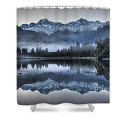 Lake Matheson In Predawn Winter Light Shower Curtain