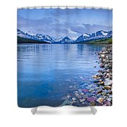 Lake Sherburne Shoreline Shower Curtain