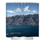 lake with Brissago islands and snow-capped mountain Shower Curtain