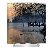 Lake With Ice In Sunset Shower Curtain