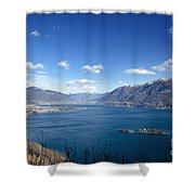 Lake With Islands And Snow-capped Mountain Shower Curtain