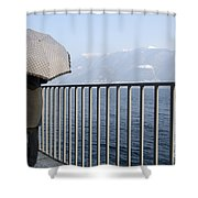 Lakefront With A Umbrella Shower Curtain