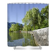 Lakefront With Trees Shower Curtain