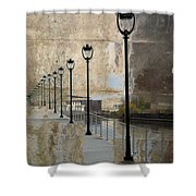 Lamp Posts And Concrete Shower Curtain